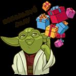 Праздничный мастер Йода: cтикер №6