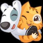 Персик и Спотти любят OREO: cтикер №13